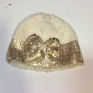 Blueberry Hill gold bow beanie